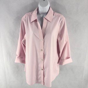 NYC Foxcroft Pink Button Up Stretch Top XL NYOT